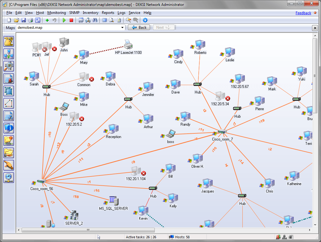 network mapping, network monitoring, bandwidth monitoring, network inventory